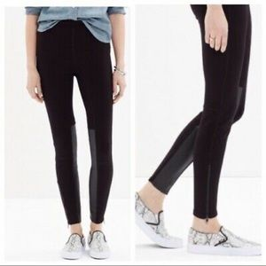 Madewell Ponte Panel Faux Leather Ankle Legging 8